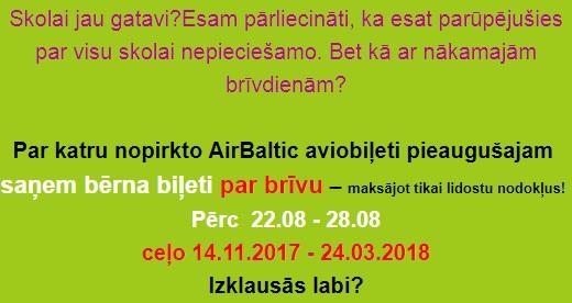 Airbaltic atlaides bērniem