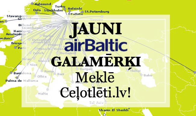 Jauni airBaltic galamērķi arī Ceļotlēti.lv!