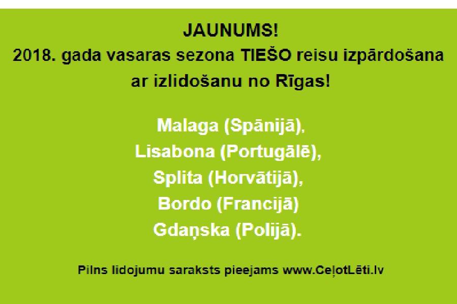 Aviobiļetes no Rīgas uz Malagu, Lisabonu, Splitu, Gdaņsku, Bordo - tiešie reisi