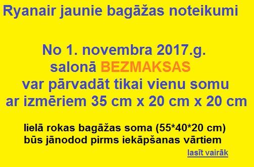 Ryanair jaunie bagāžas noteikumi