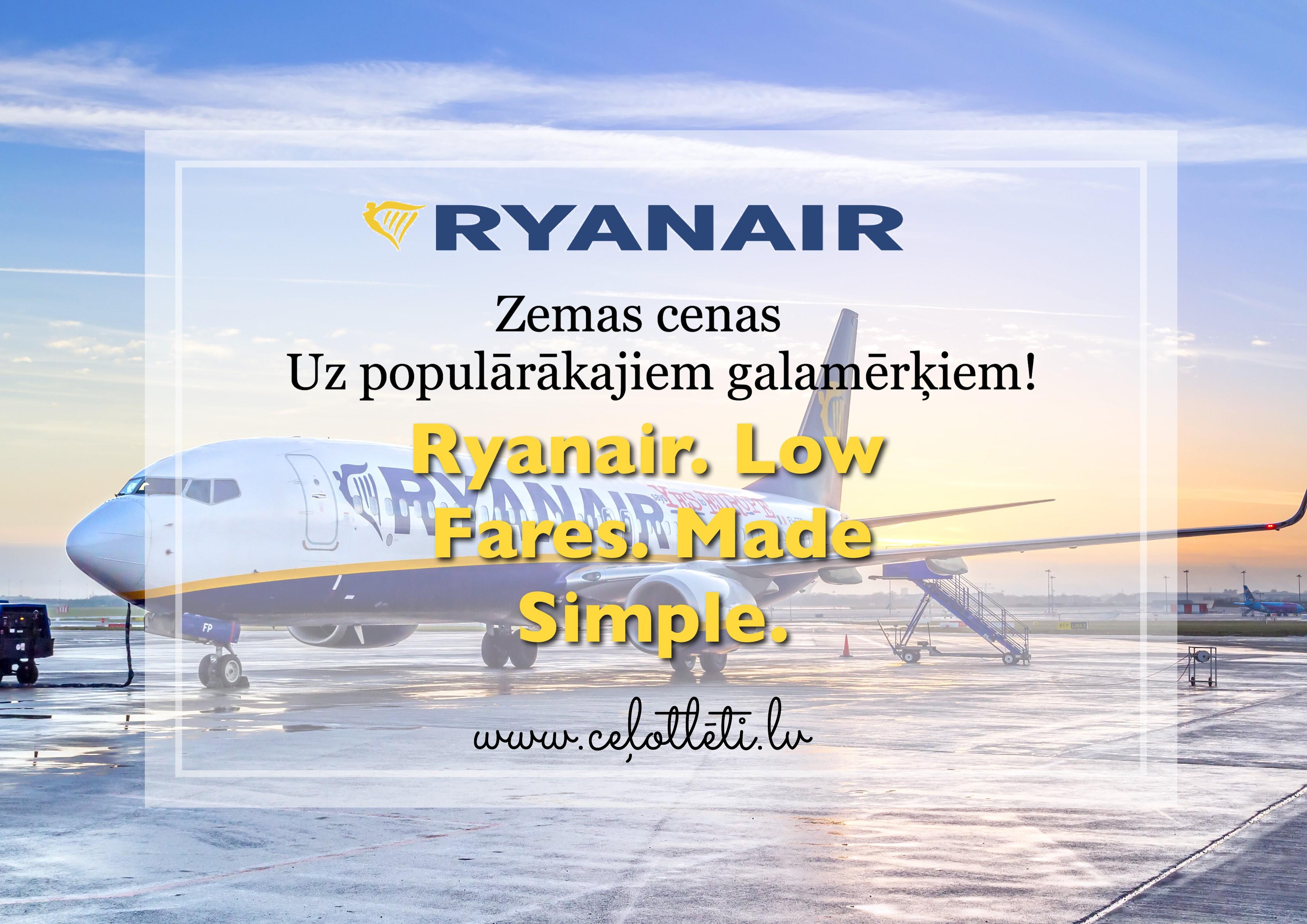 Meklē Ceļotlēti.lv: Ryanair zemas cenas!