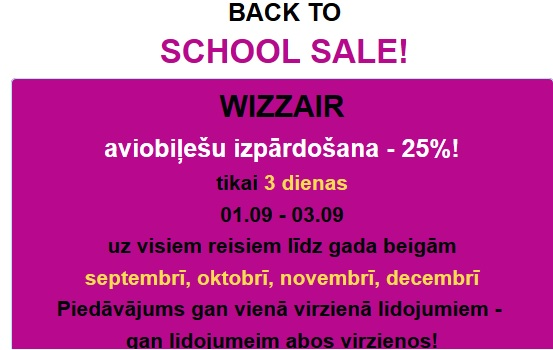 WIZZAIR aviobiļešu izpārdošana - 25%